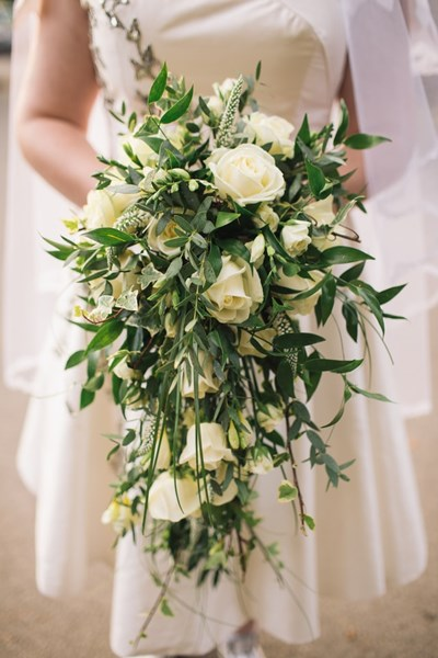 White_Rose_and_palm_leaves_Bridal_Bouquet